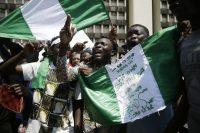 Demonstrators in Lagos, Nigeria, protest police brutality in October 2020. (Sunday Alamba/AP)