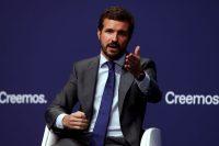 El líder del Partido Popular español, Pablo Casado, asiste al debate 'La sociedad abierta y sus enemigos' en Madrid, España, el 29 de septiembre de 2021. (J J Guillen/EPA-EFE/REX/Shutterstock)