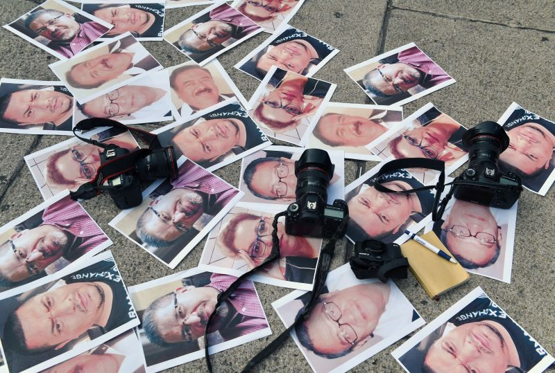 Cameras and pictures of journalists killed in Mexico are placed at the Angel of Independence square during a protest by journalists in Mexico City on May 16, 2017. (Yuri Cortez/Agence France-Presse/Getty Images)