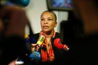 Christiane Taubira speaks to journalists in January 2016 in Paris. (Thomas Samson/AFP via Getty Images)