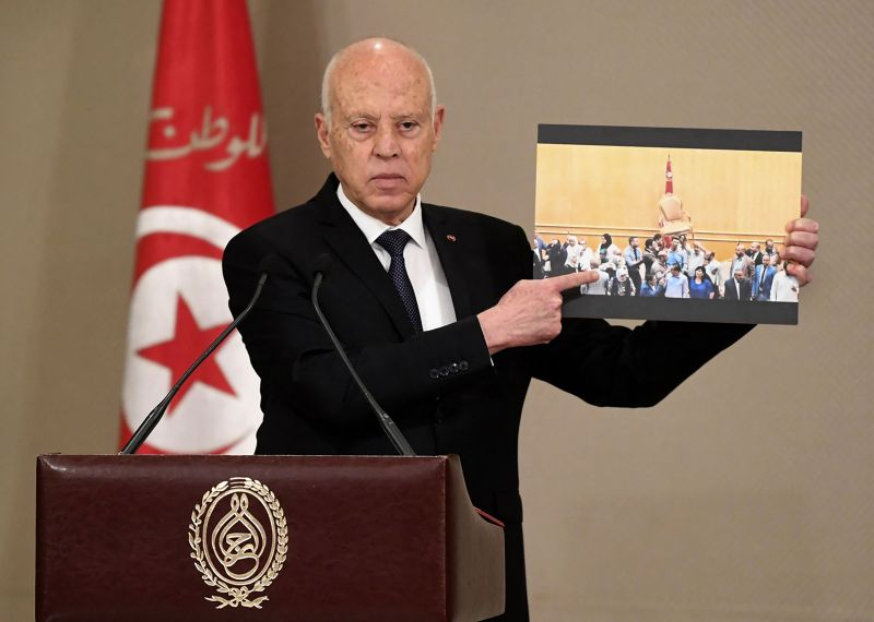 Tunisian President Kais Saied announces the formation of a new government in Tunis on Oct. 11. (Tunisian Presidency/AFP via Getty Images)