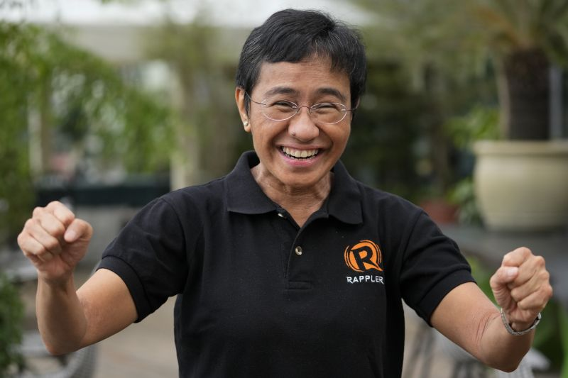 Rappler Chief Executive and Executive Editor Maria Ressa reacts during an interview at a restaurant in Taguig, Philippines, on Oct. 9. The Nobel Peace Prize was awarded to Ressa, plus Dmitry Muratov of Russia, for their fight for freedom of expression. (Aaron Favila/AP)