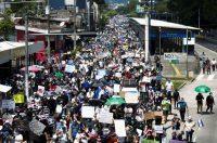 Una protesta contra el uso de bitcoin como moneda de curso legal y las reformas legales para extender el mandato del presidente Nayib Bukele en San Salvador, El Salvador, el 15 de septiembre de 2021. (José Cabezas/Reuters) (Jose Cabezas/Reuters)